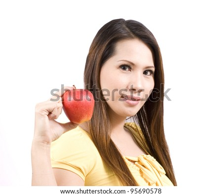 young woman hold an apple