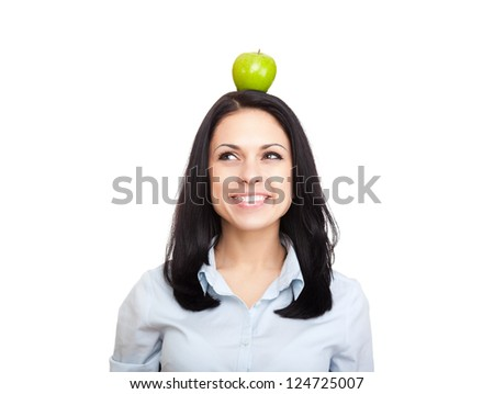 young woman hold green fresh apple on head, female happy smile think looking up side to empty copy space, isolated on white background natural organic food fruit concept