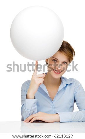 young woman holding a blank globe for text and symbols