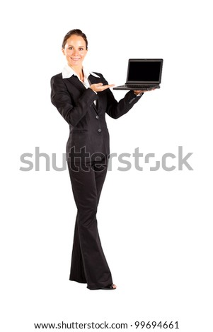 young woman holding a laptop isolated on white