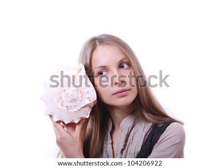 young woman holding a shell, isolated on white