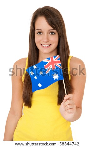 Young woman holding Australian flag isolated on white