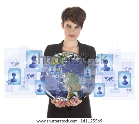 Young woman holding earth with social media symbols isolated on white. Elements of this image are furnished by NASA