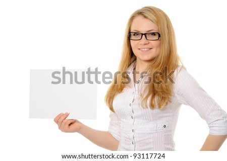 young woman holding empty white board on a white background