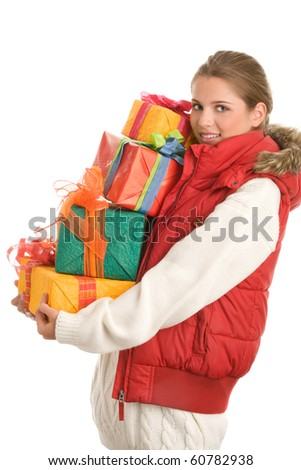 Young woman holding gifts isolated on white background