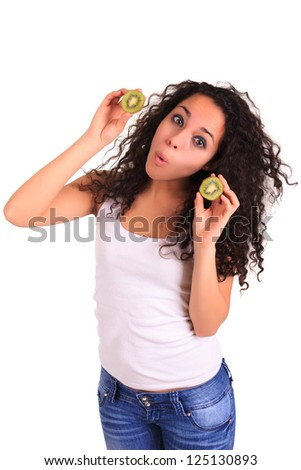 young woman holding kiwi. Isolated over white. Isolated over white