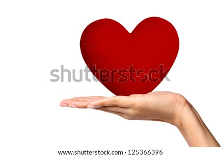 Young Woman Holding Large Red Heart