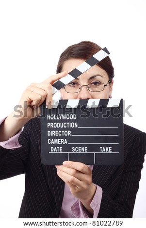 Young  woman holding movie clapper