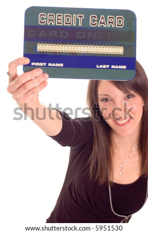 Young woman holding online credit cards, numbers on credit card are made up