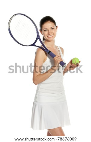 Young woman holding racket and ball isolated on white background