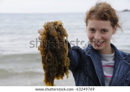 Young woman holding seaweed at the coast of brittany