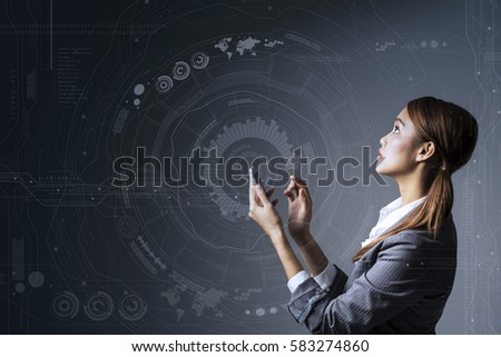 young woman holding smart phone and futuristic interface pattern, Internet of Things, Internet of Everything, heads up display, mixed reality, abstract concept