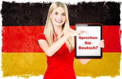 Young woman holding tablet pc with text Do You Speak German? National flag of Germany at the background. German language learning concept. Collage. Clip-Art