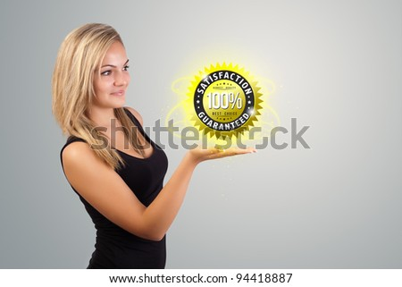 Young woman holding virtual business sign