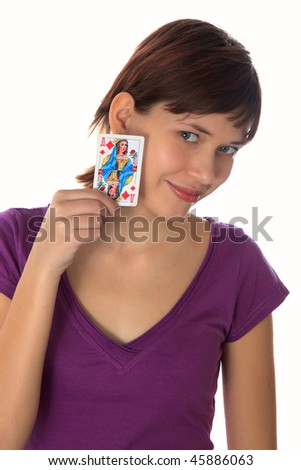 young woman holds in a hand a playing card the lady
