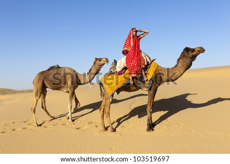 Young woman in a saree with camels in the desert, Rajasthan - India