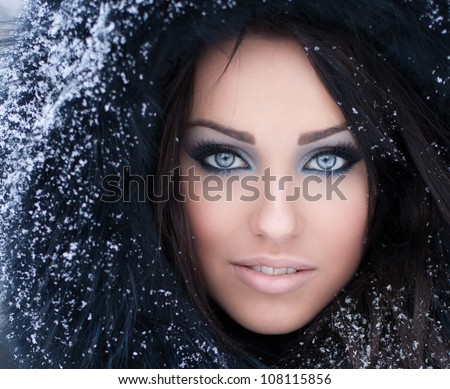 Stock Photo Young woman in a snowy furry hood