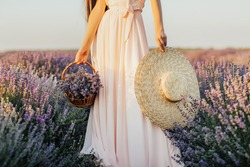 Young woman in a tender pale rose long dress carries a bouquet of lavender in a basket and and a pretty straw hat. Beautiful woman holding straw hat and straw basket in lavender field.