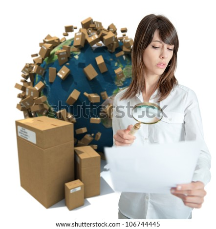 Young woman in a transportation background analyzing a document. Map texture source comes from the Nasa free of use images