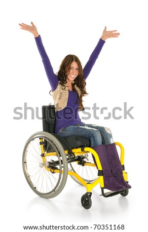Young woman in a wheelchair smiling