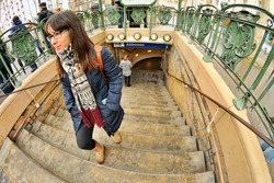Young woman in Abbesses station (Montmartre, Paris)