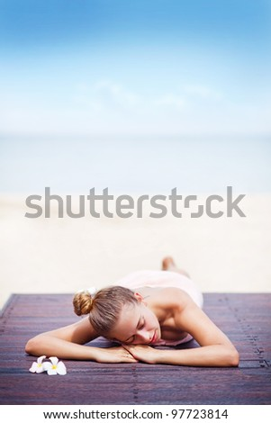 Young woman in beach spa