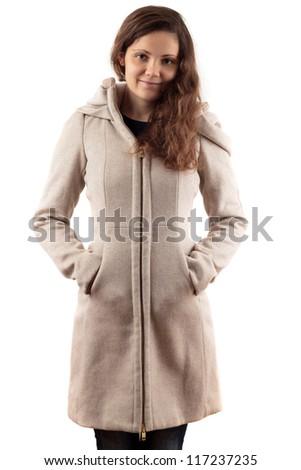 Young Woman In Beige Coat