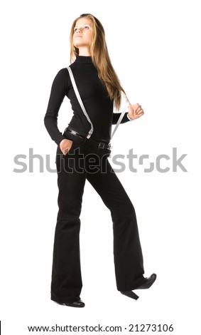 Young woman in black. Isolated on white. - stock photo