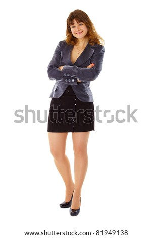 Young woman in business suit smiling - stock photo