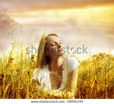 young woman in countryside