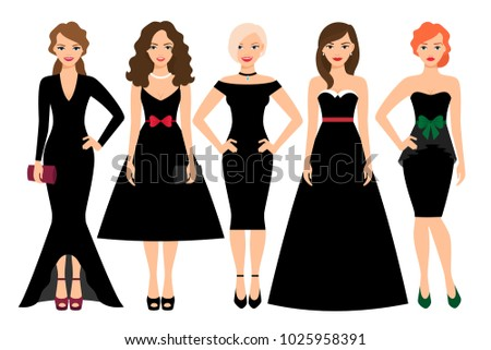 Young woman in different black dresses illustration. Black fashion female model portrait isolated on white background