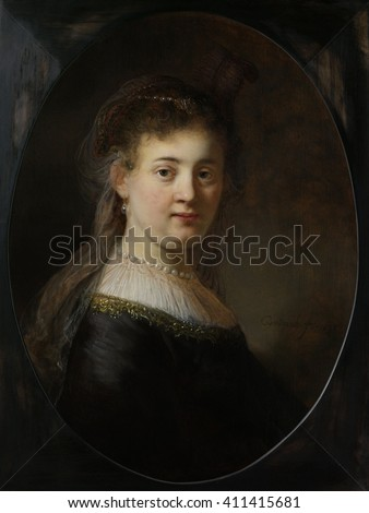 Young Woman in Fantasy Costume, by Rembrandt van Rijn, 1633, Dutch painting, oil on panel. The model for the painting is probably Rembrandt's wife Saskia van Cuylenburgh. Her clothing, the thin veil