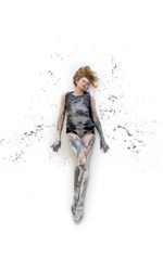 Young woman in gray shirt lying on the floor elegantly decorative, in black and white color. Creative, expressive, abstract expressive body art and painting isolated cut out on white
