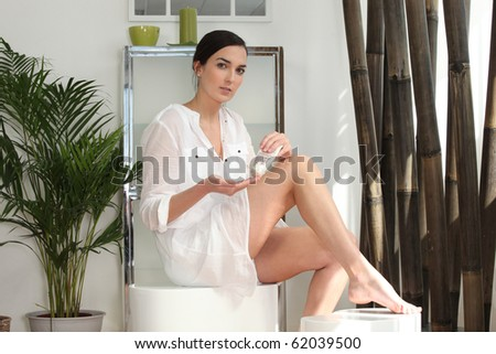 Young woman in her bathroom