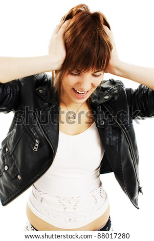 Young woman in hysterics on a white background. Family problems.fury.