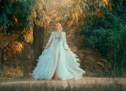 Young woman in incredibly dress with feathers. Creative cloak embroidered with stones, silver and down. White dress with a corset and a long skirt with tulle fluttering in the wind. Art photography
