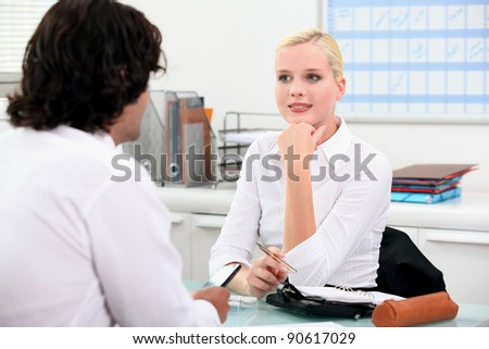 Young woman in interview - stock photo