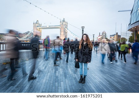 Young Woman in London at Rush Hour