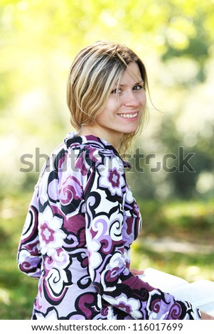 young woman in nature - stock photo
