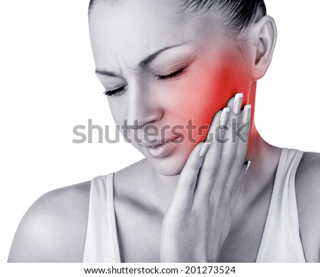 Young woman in pain is having a toothache isolated on white background