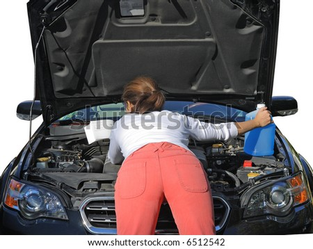 Young woman in red jeans trying to fix the car. Isolated on white background. #6512542