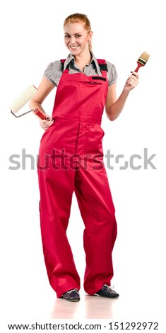 Young woman in red overalls with painting tools , isolated on white