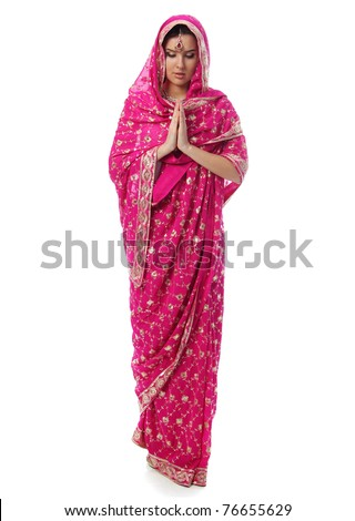young woman in sari dress