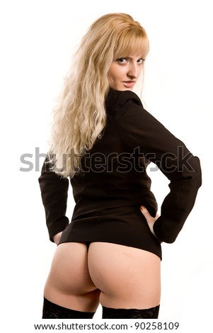 young woman in stockings and a black jacket. isolated on white