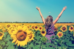 Young woman in sunflower field