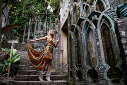 Young woman in surreal garden of Edward James. Xilitla. San Luis Potosi. Mexico.