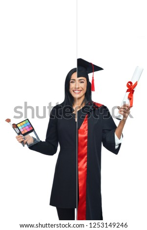 Young woman in two occupations of hairdresser and university graduate isolated on white background. Student graduate wearing mantle and holding diploma and makeup artist with palette of eye shadows. #1253149246