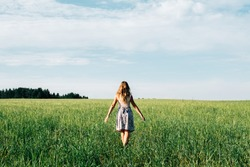 Young woman in wheat field. View from the back