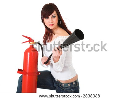 young woman in white blouse holding fire extinguisher