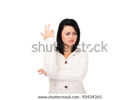 Young woman in white knitted dressing gown on isolated white background